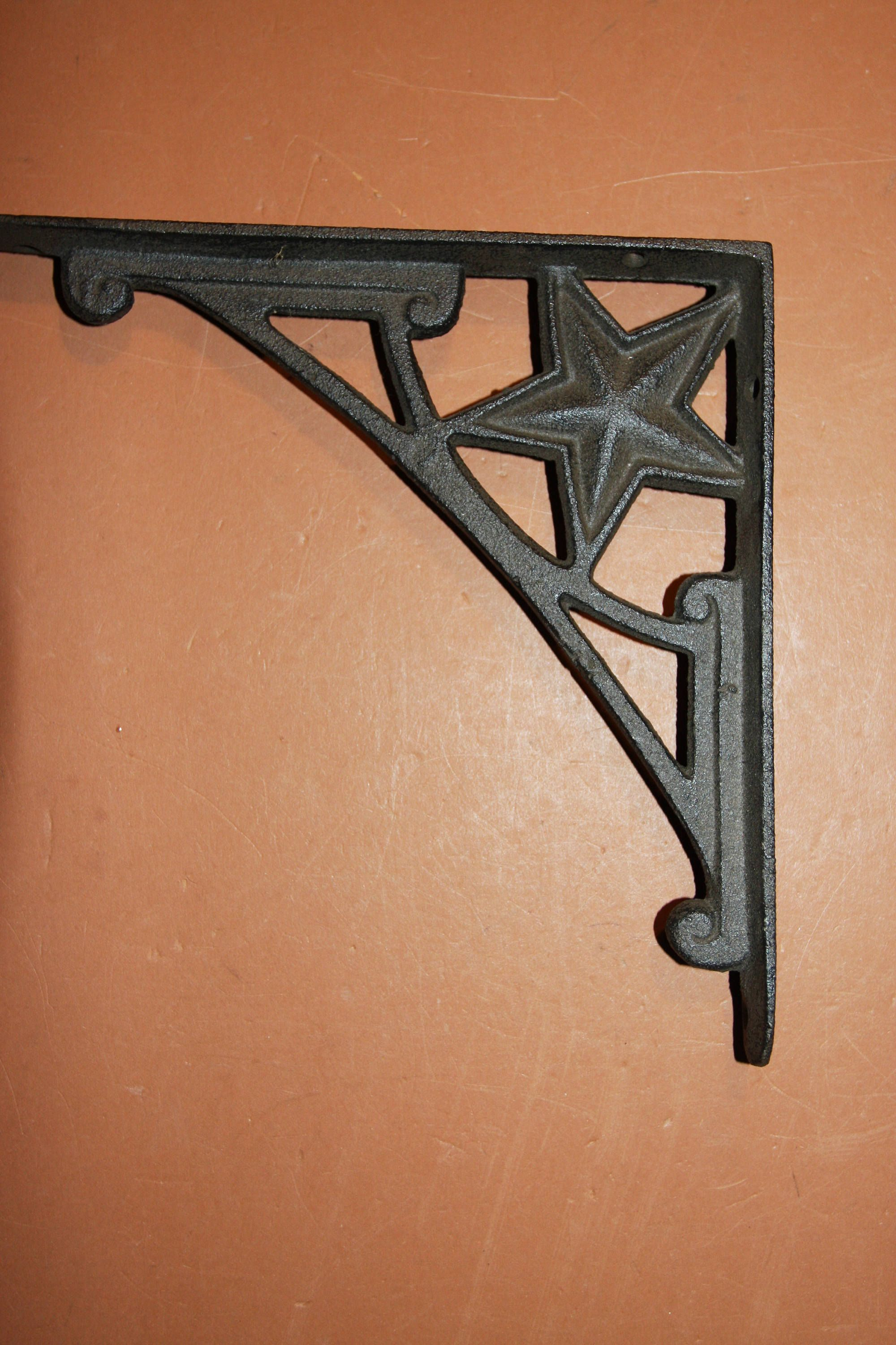 3 BROWN ANTIQUE-STYLE CAST IRON WELCOME STAR HORSESHOE HOOKS wall western cowboy