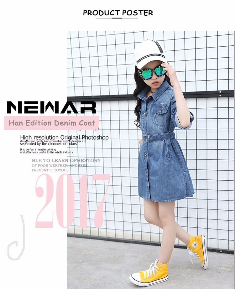 013a136a6df New Product 2017 Latest Jeans Tops Girls Korean Fashion Cotton Belt  Furcated Kids  Denim Dress