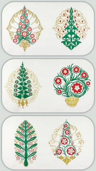 Bfc0921 Art Nouveau Christmas Trees Tattoo Pattern Pattern