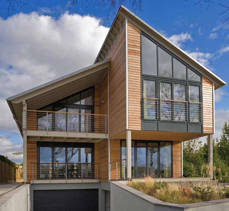 Architekten, Baufritz, Design, Gesundheit, Giebelverglasung, Glas - terrasse hanglage modern