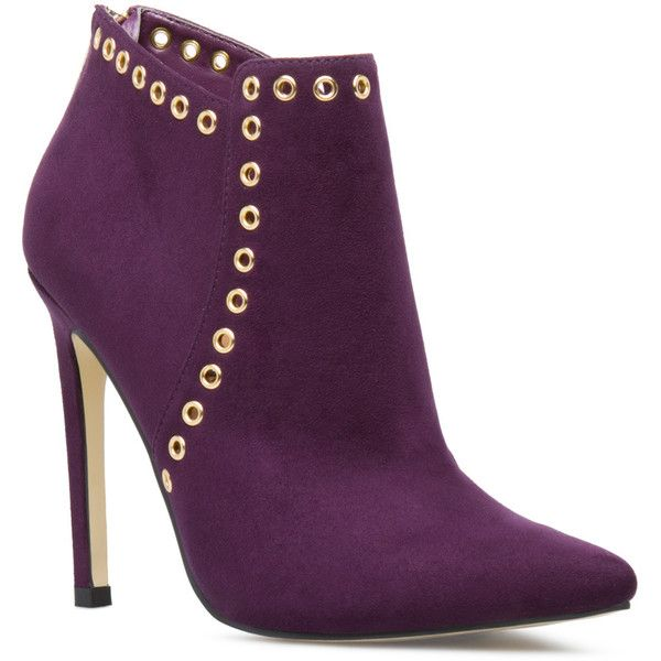 e7d936e02376 ShoeDazzle Booties Jorden Womens Purple ❤ liked on Polyvore featuring shoes