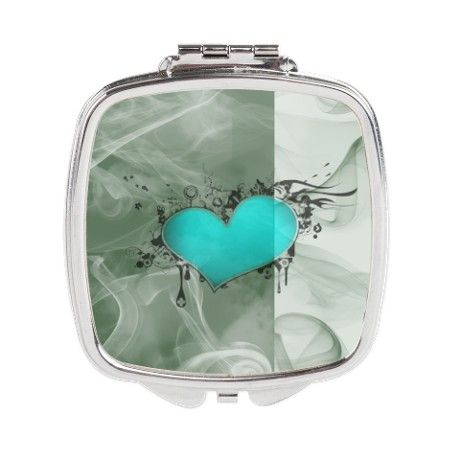 Heart and Love Square Compact Mirror