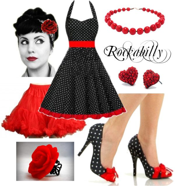 """Black and Red Polka Dot Rockabilly"" by costumelicious on Polyvore. This sexy-sassy-cute polka dot rockabilly dress outfit works on pretty much all body types and is super easy to put together, starting with our sexy retro pinup shoes and red fluffy petticoat! #Rockabilly #PolkaDot"