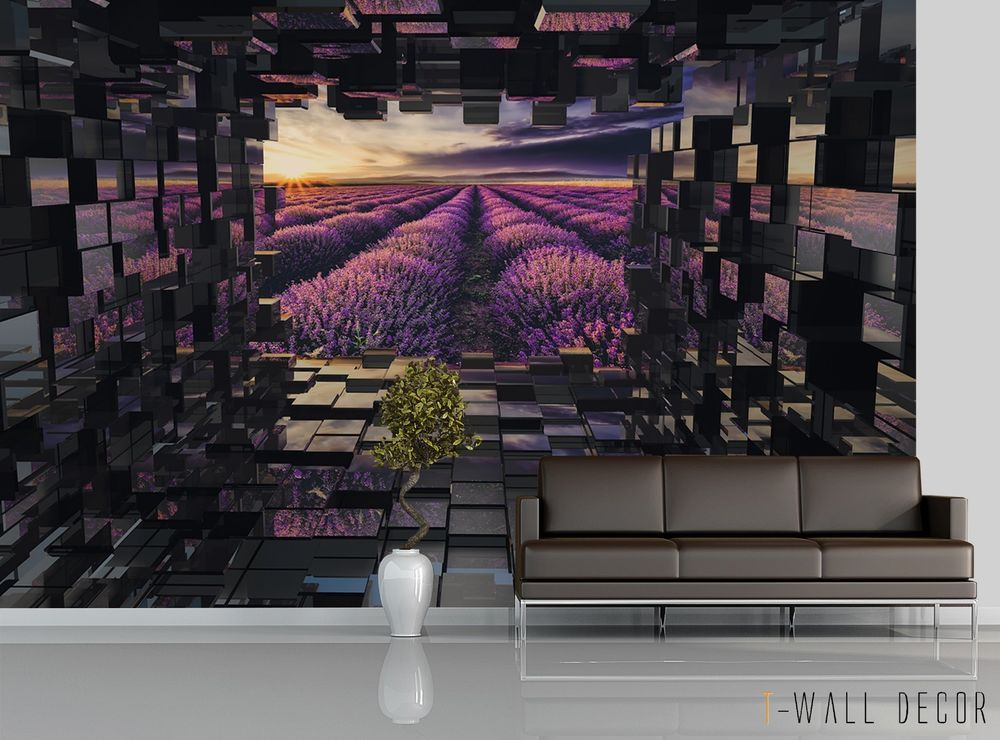3d Tunnel To Lilac Lavender Field Wallpaper Mural Room Art 2018