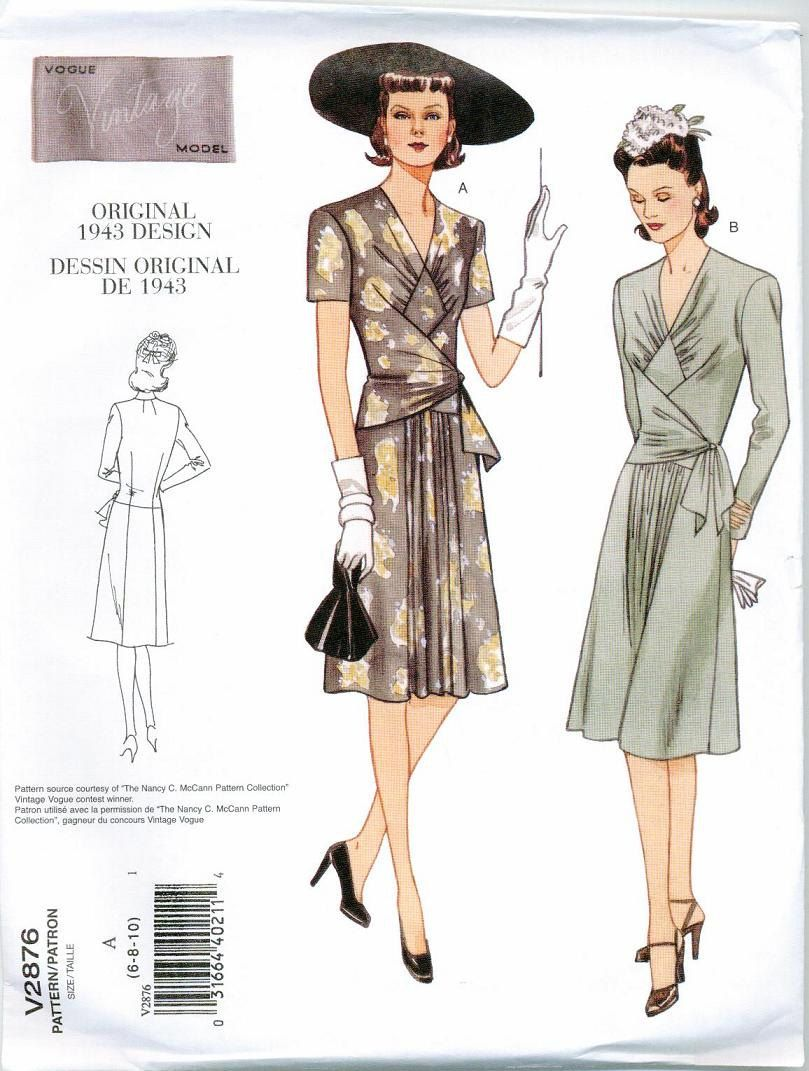 1943 Sewing Pattern Vintage styled Vogue 2876 Size 18-20-22 reissue ...