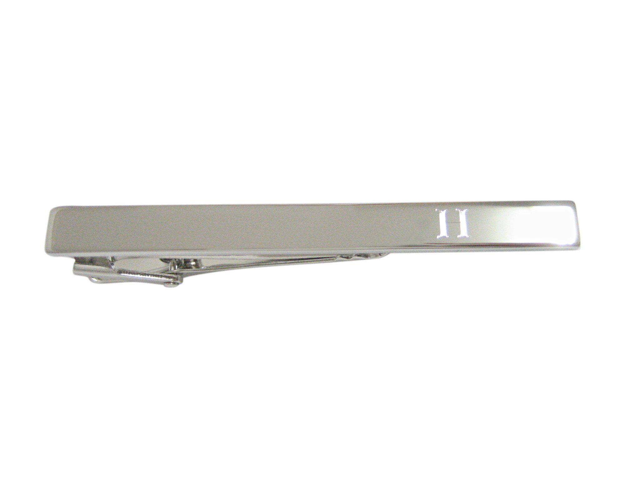 Silver Toned Etched Letter Q Monogram Collar Stays