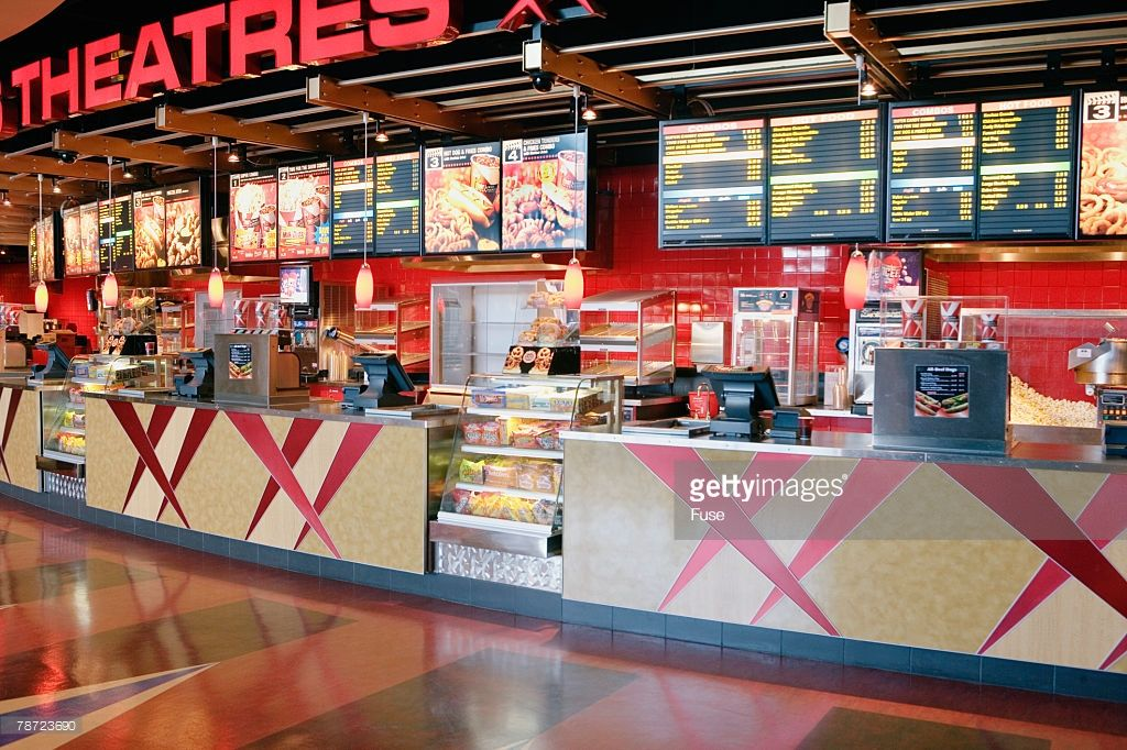 Concession counter at movie theater healthy movie snacks