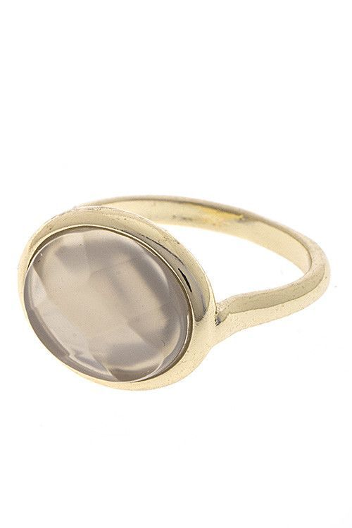 FACETED SEMI PRECIOUS STONE BEZEL SET RING - Size: 7- Color: Gold/Gray- :