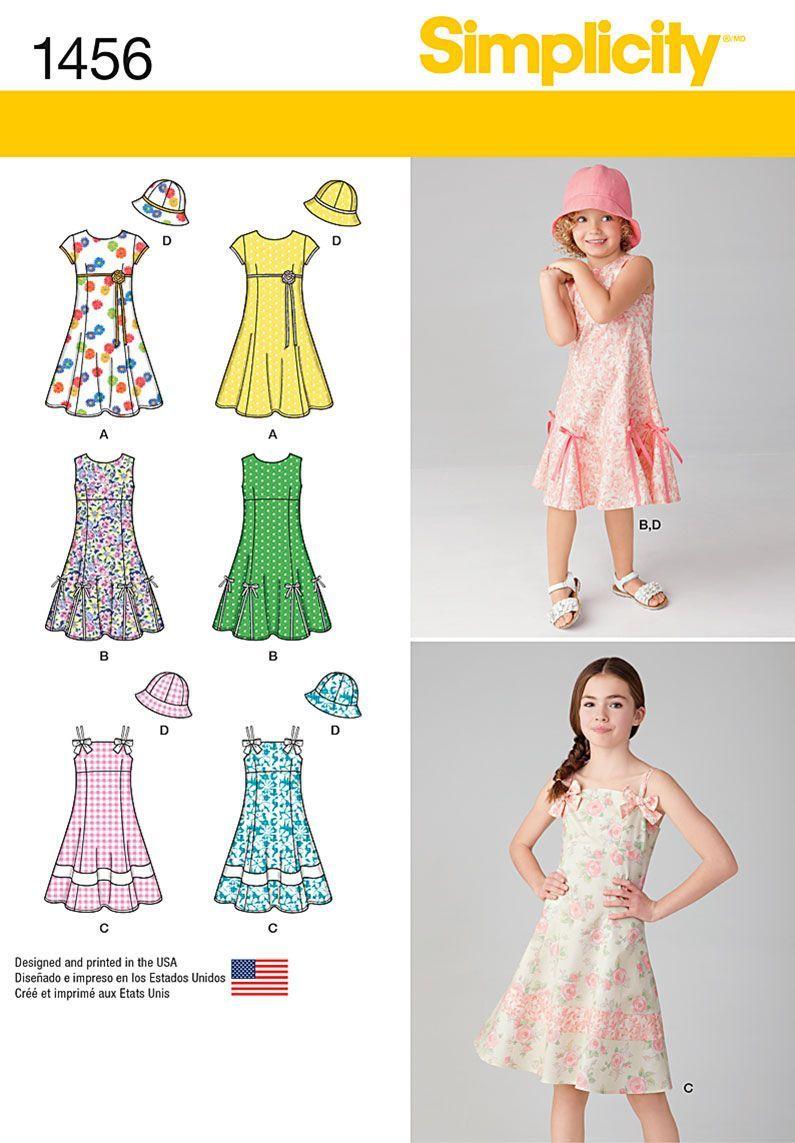 0969581bf Simplicity Pattern 1456K5 7-8-10-12--Child Girl Dresses