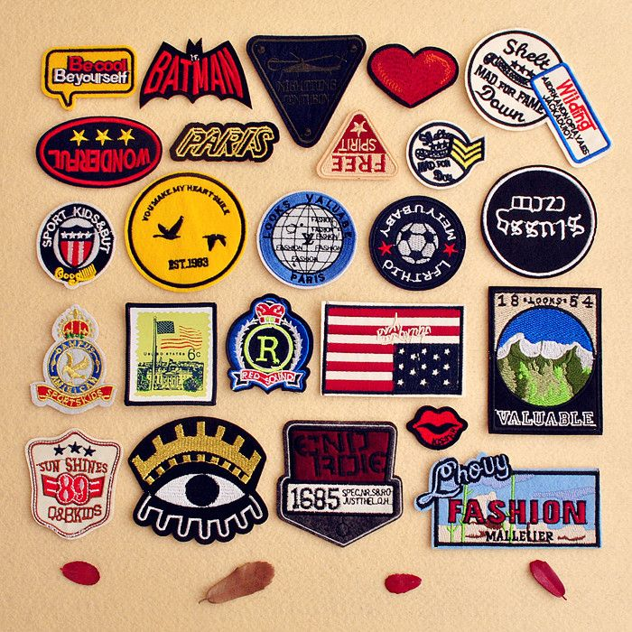 30pcs random assorted Iron-on or Sew-on Embroidered patch Motif Applique patches  diy patch