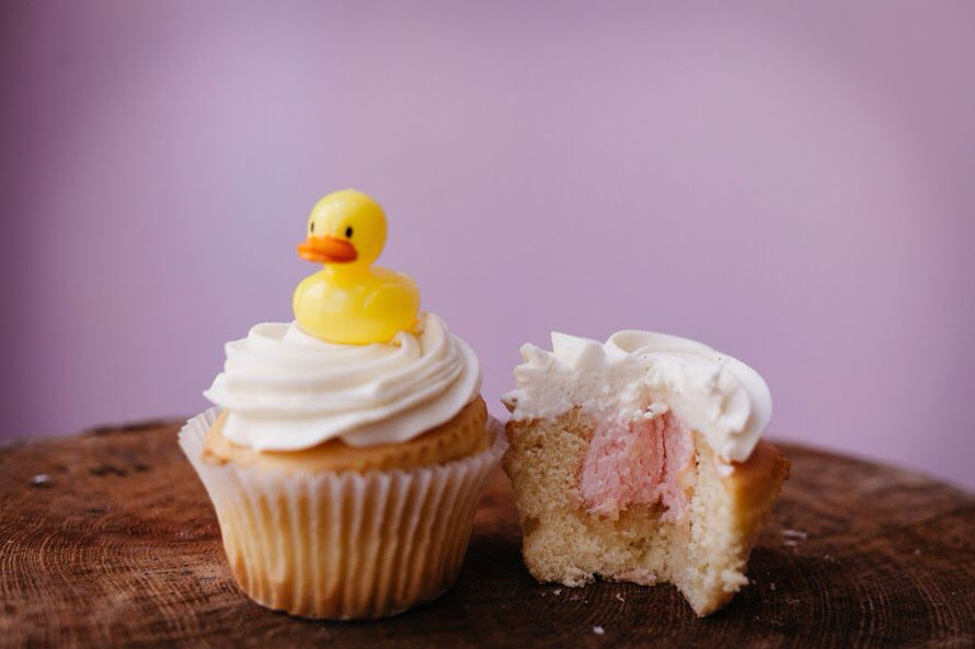 Baby girl gender reveal cupcake our classic vanilla
