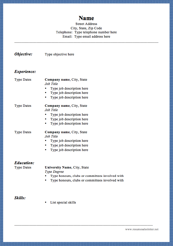 Free Blank Resume Name Street Address City State Zip Code