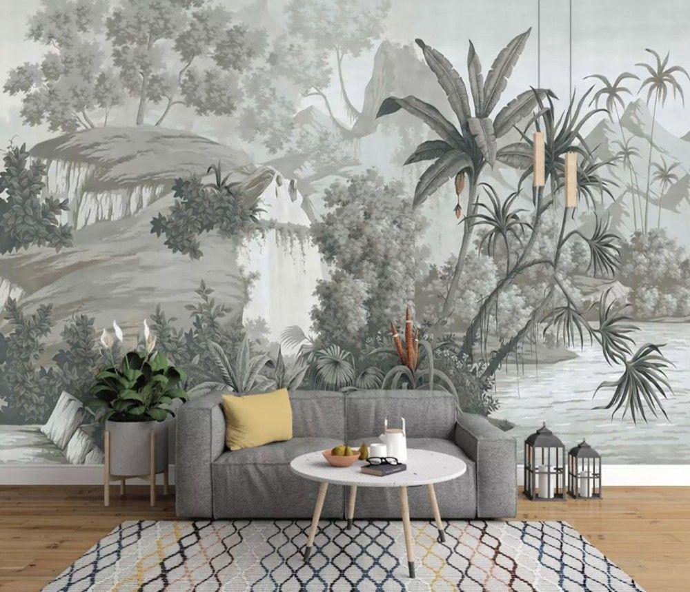 Monochrome Forest Landscape Wallpaper Mural