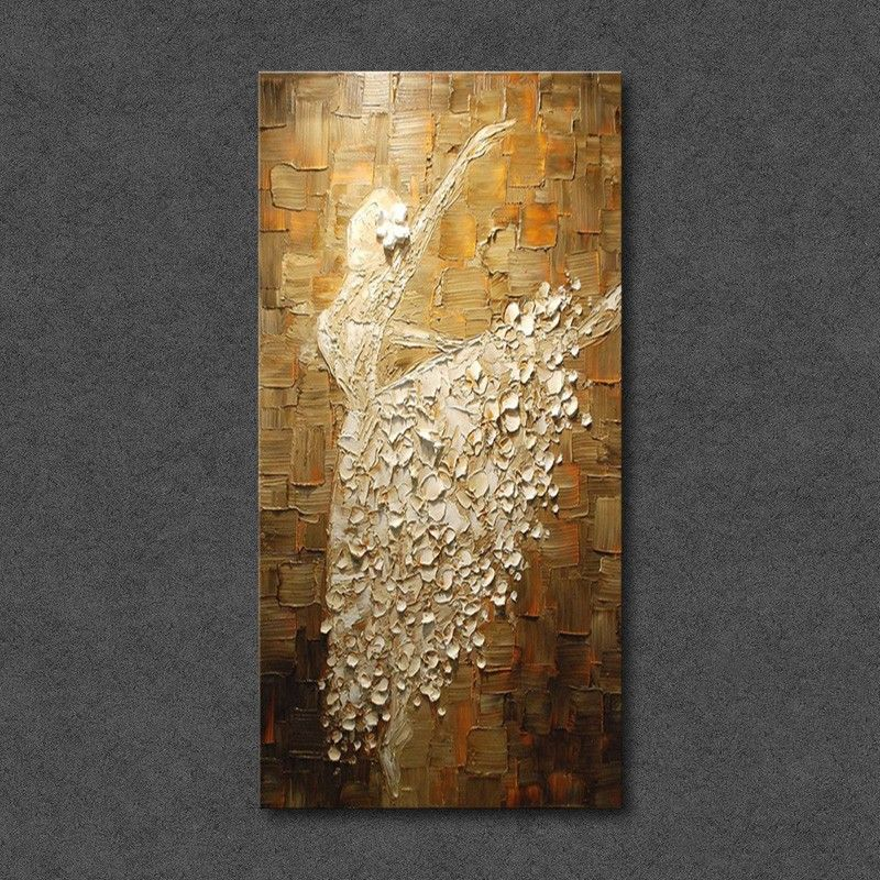 Dreamy Ballerina In White Artistic Hand Painted Vertical Canvas Wall ...