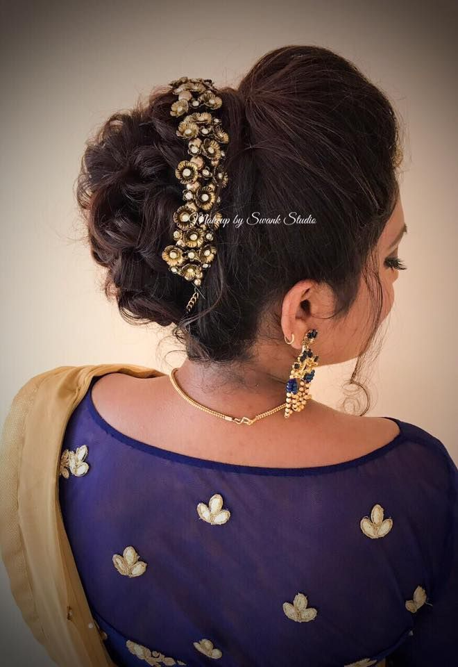Bridal Updo For Reception By Swank South Indian Bride Bridal Hair With Accessory Hair Bun Bridal Hair Buns Indian Wedding Hairstyles Hair Styles