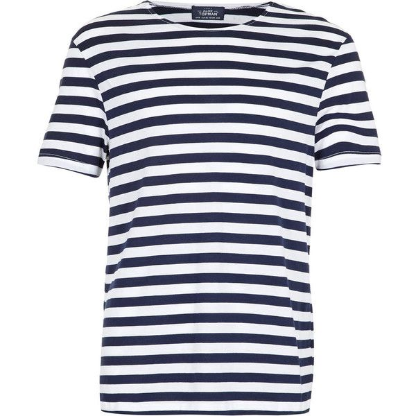79aa836386 TOPMAN Navy And White Stripe T-Shirt (£4) found on Polyvore featuring mens,  men's clothing, men's shirts, men's t-shirts, men and blue