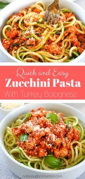 Quick and Easy Turkey Bolognese with Zucchini Pasta  healthy dinner