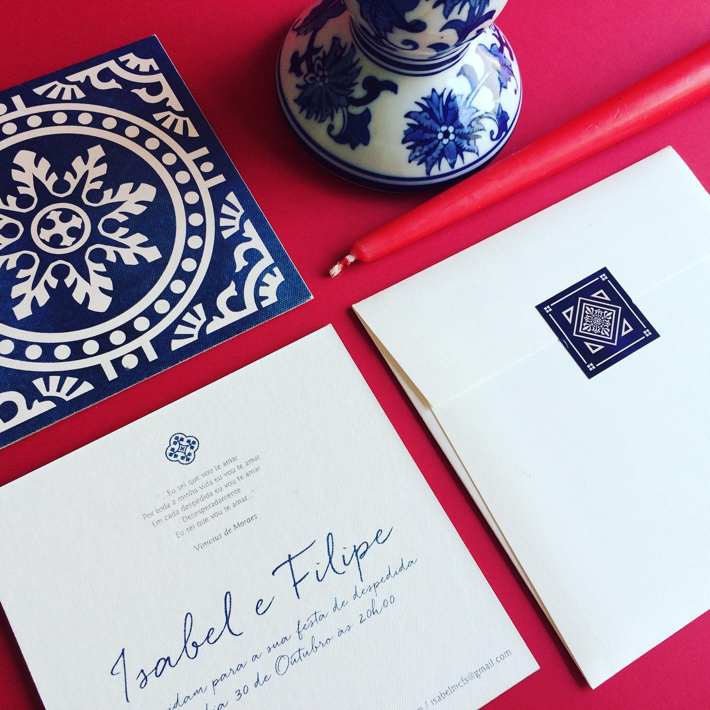 Convite de casamento com alusão ao azulejo português.   Wedding ...