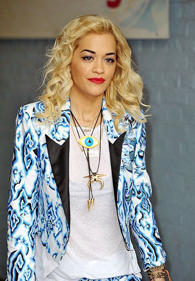 Rita Ora with fabulous evil eye necklace