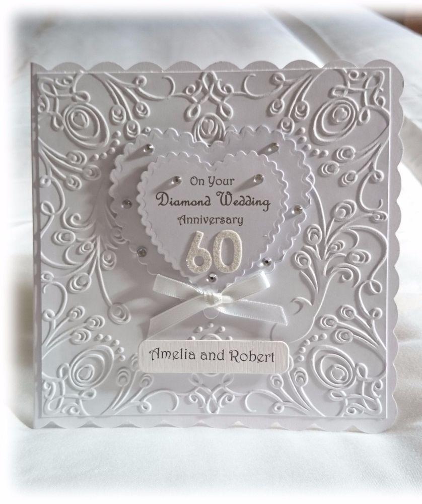 Luxury Personalised Hand Made Diamond Wedding 60th Anniversary Card Diamond Wedding Anniversary Cards Anniversary Cards Handmade Wedding Cards Handmade