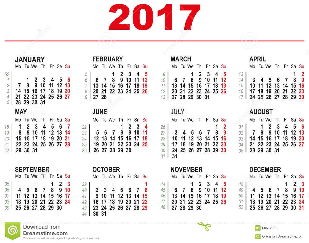Plantilla De 2017 Calendarios Semanas Horizontales Primer Día Lunes ...