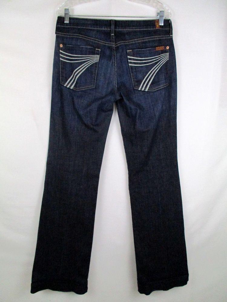 Women S 7 Seven For All Mankind Dojo Dark Bootcut Jeans Sz 31 X 34