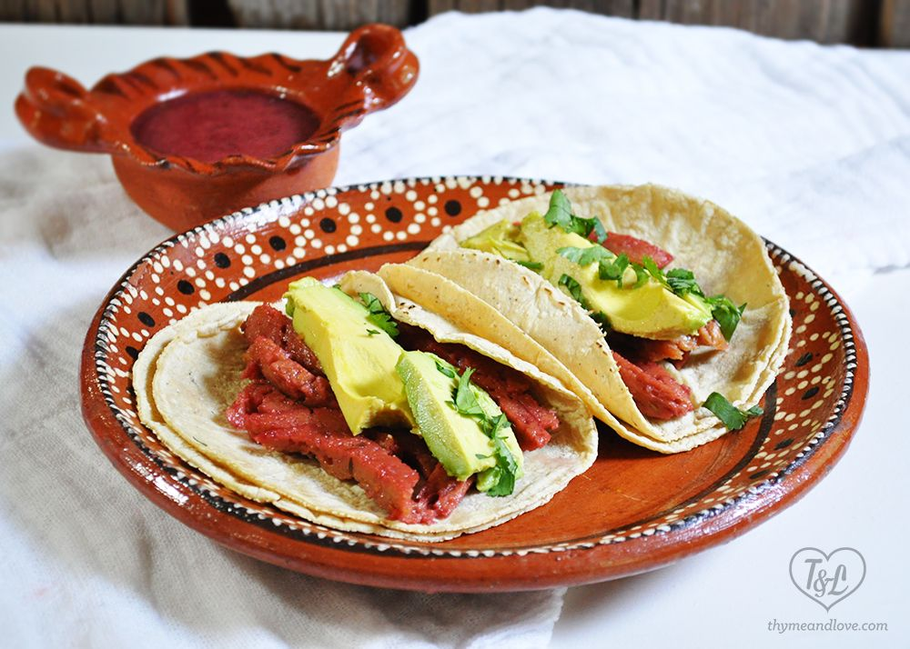 Oven Roasted Seitan Tacos With Hibiscus Marinate Thyme Love Oven Roast Vegan Recipes Healthy Baked Dishes