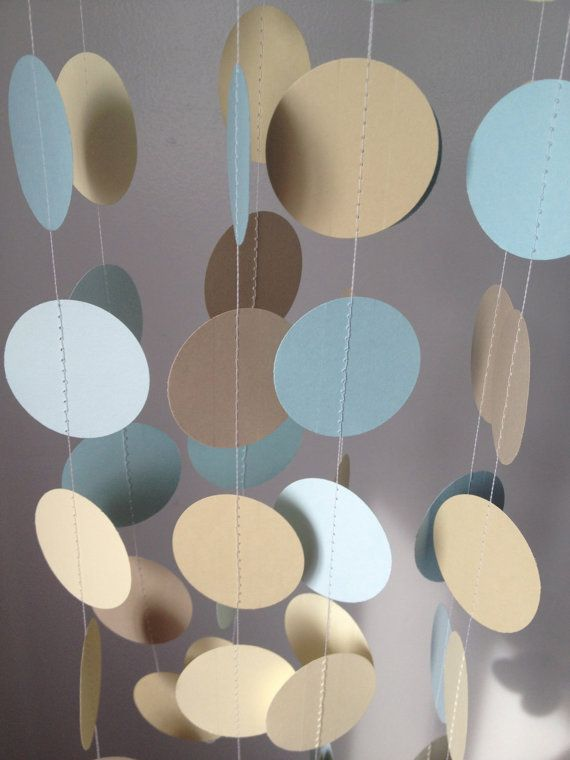 Light Blue Beige Ivory Light Brown 12 Ft Circle Paper Garland Party Decorations Birthday We Blue Party Decorations Light Blue Decor Blue Birthday Parties