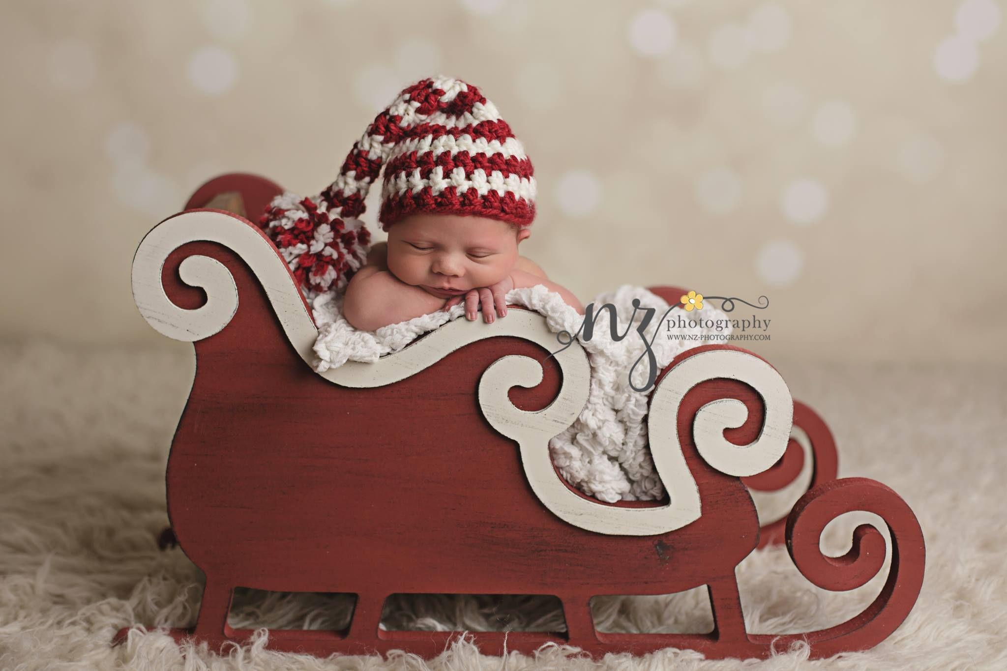 Sleigh prop newborn photography props