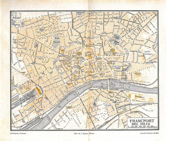 Items Similar To Frankfurt Germany Vintage City Map 1920s Street Plan On Etsy City Map Frankfurt Germany Vintage World Maps