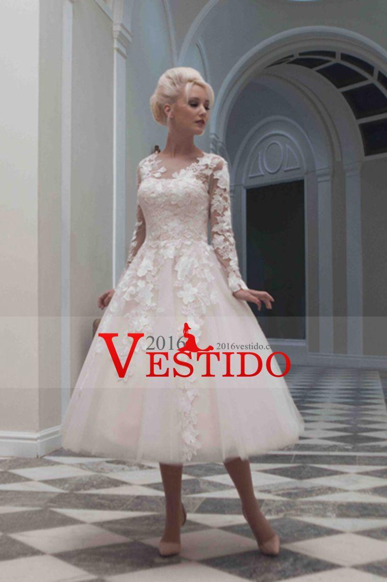 Vistoso Comprar El Vestido De Novia Longitud Del Té Modelo - Ideas ...