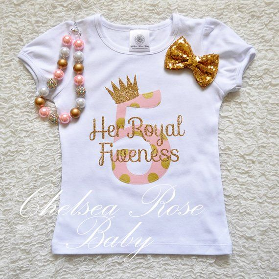 Pink And Gold Birthday Shirt Personalized Outfit Girls 5th