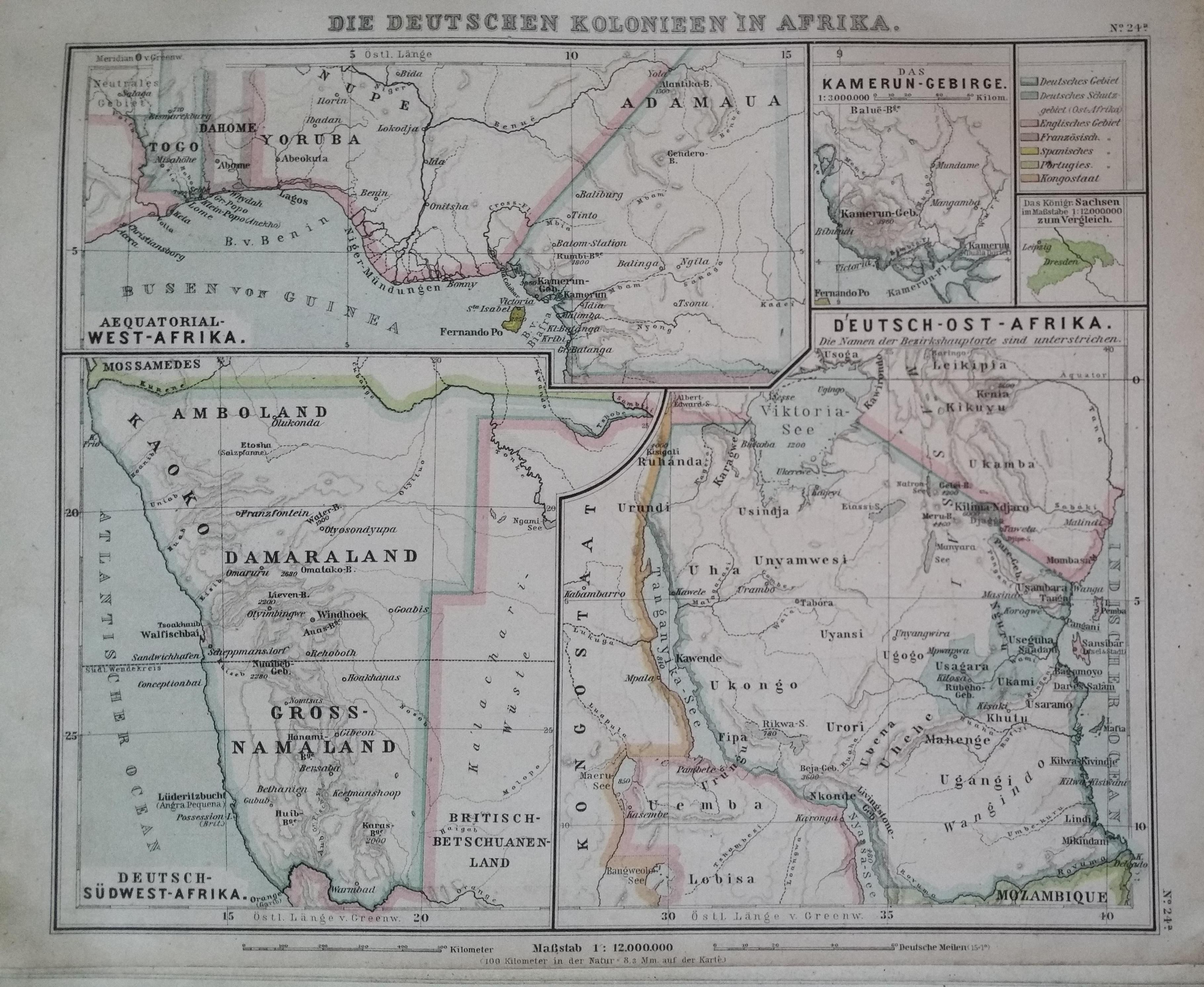 German colonies in africa 1894 current day togo cameroon german colonies in africa 1894 current day togo cameroon tanzania and namibia from a german atlas debes schul atlas gumiabroncs Images