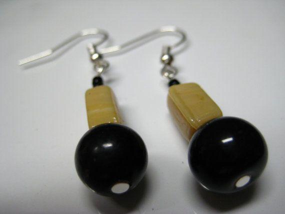 Black and Beige Glass Bead Earrings Handmade by StarChildArtwork, $15.92