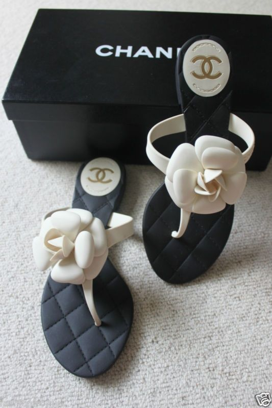 aba7e17ae10c 12p chanel classic cream   black camellia flower flip flops 36 ...