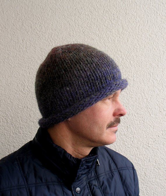c395f33413d Mens winter hat 100% natural icelandic wool and sheep wool multicolor gray  handmade Mens knitted