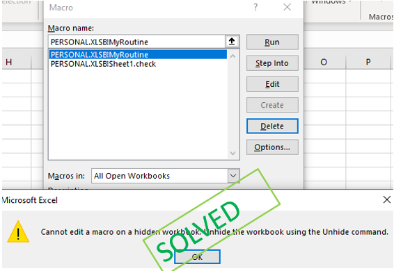 Cannot Edit A Macro On A Hidden Workbook Error How To Solve It Excel Shortcuts Workbook Macro