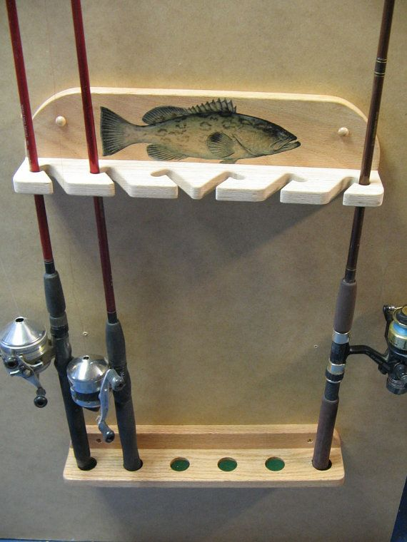 wall mount 6 pole fishing rod rack d co p che pinterest chene massif sup rieur et r glable. Black Bedroom Furniture Sets. Home Design Ideas