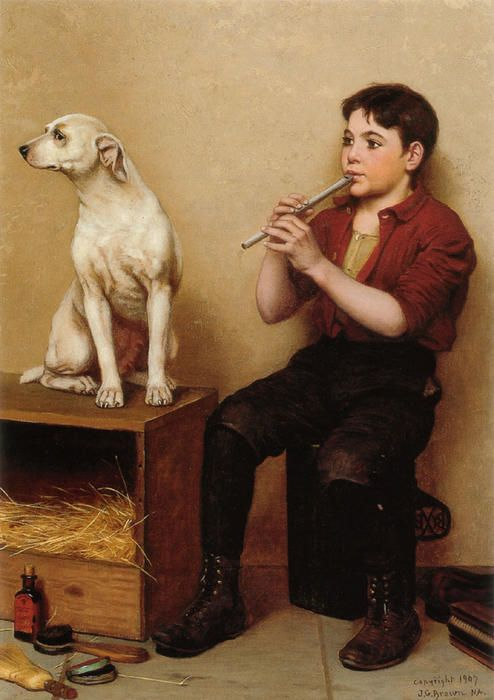 """""""Music Hath No Charms"""" (1907), by English-born American artist - John George Brown (1831-1913), Oil on canvas."""