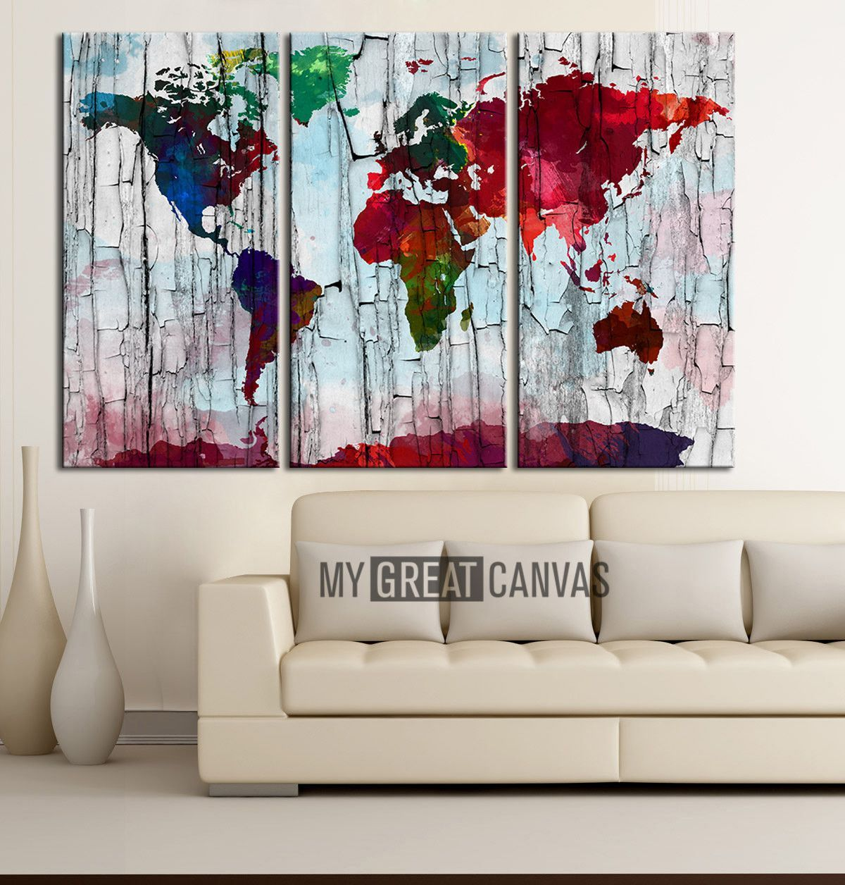Canvas print world map watercolor art print work watercolor canvas print world map watercolor art print work watercolor world map 3 piece canvas art gumiabroncs Gallery