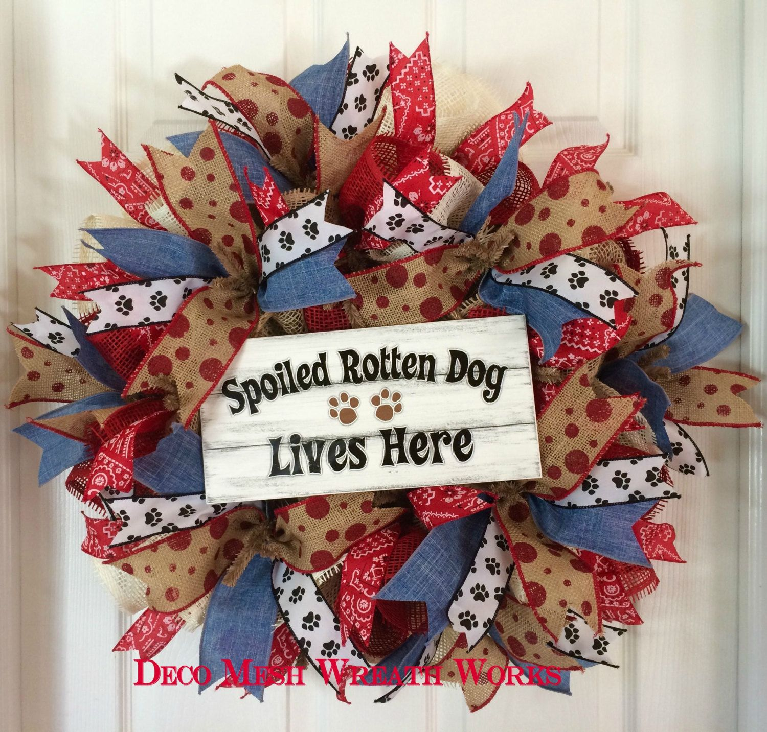 Dog wreath puppy wreath pet wreath animal wreath paw print this burlap and paper mesh wreath is perfect for any dog lovers home made with a burlap work wreath frame jeuxipadfo Image collections