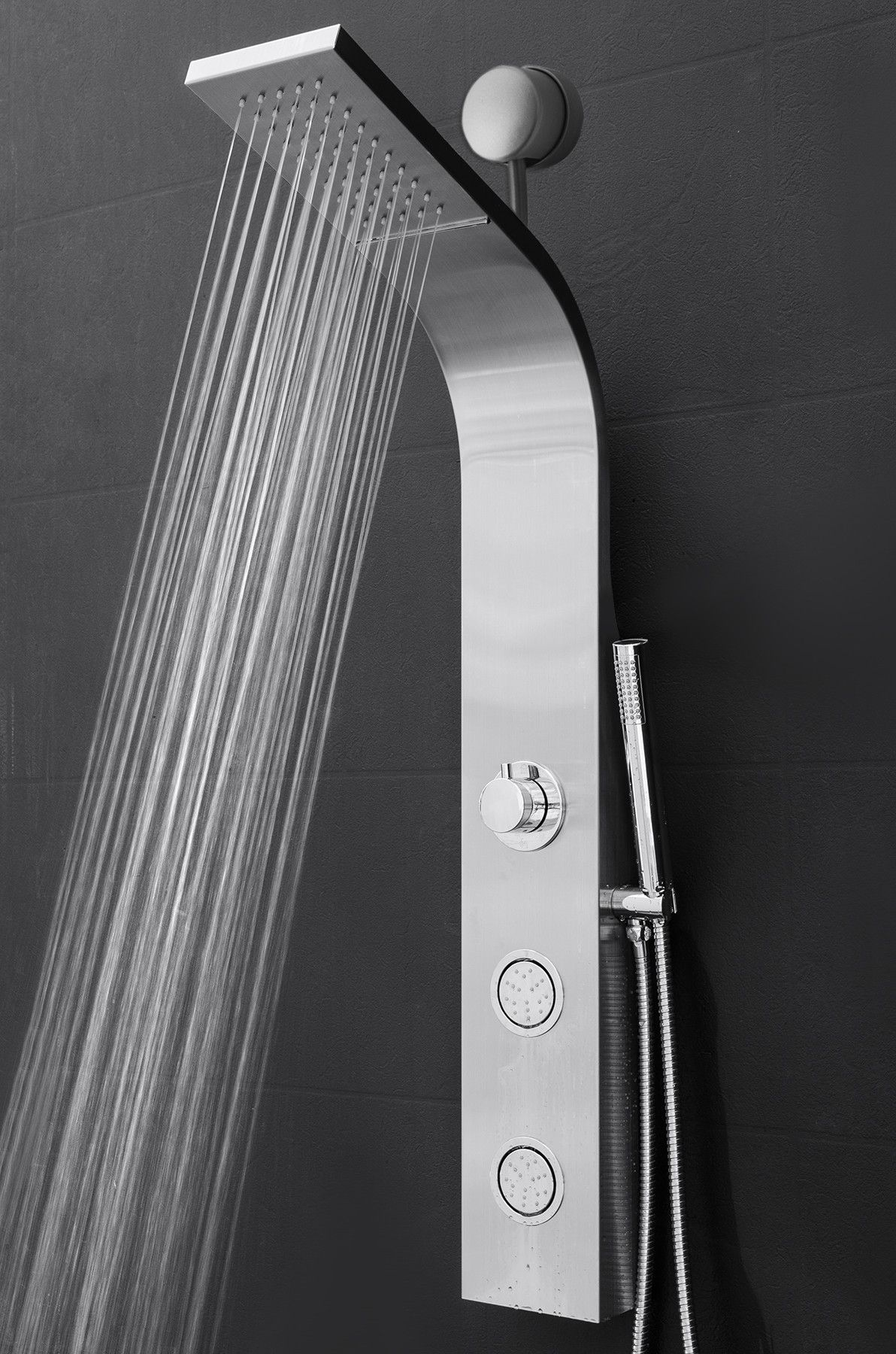 Thermostatic 39 37 Shower Panel With Dual Shower Head Shower Panels Waterfall Shower Shower Heads