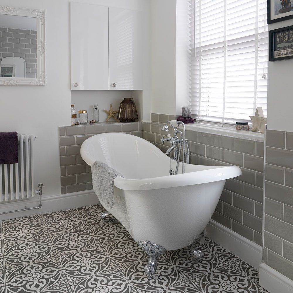 Bathroom With Roll Top Bath And Patterned Floor Tiles Patterned