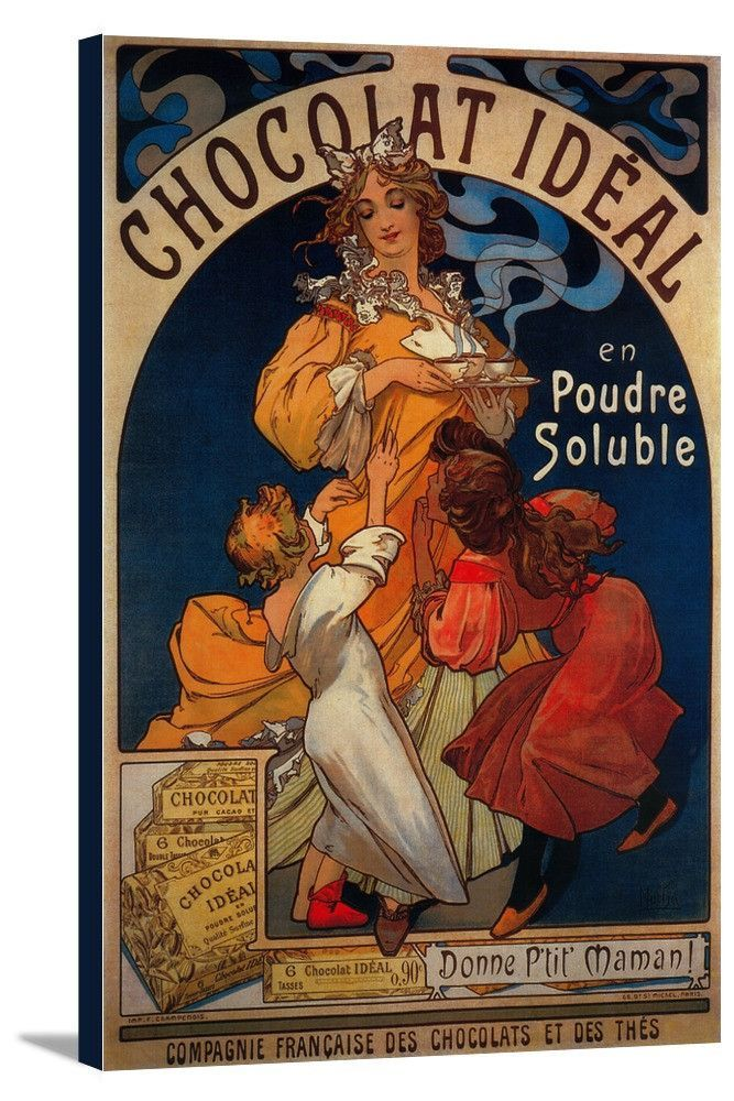 Canvas Chocolat Ideal Vintage Promotional Poster In 2019