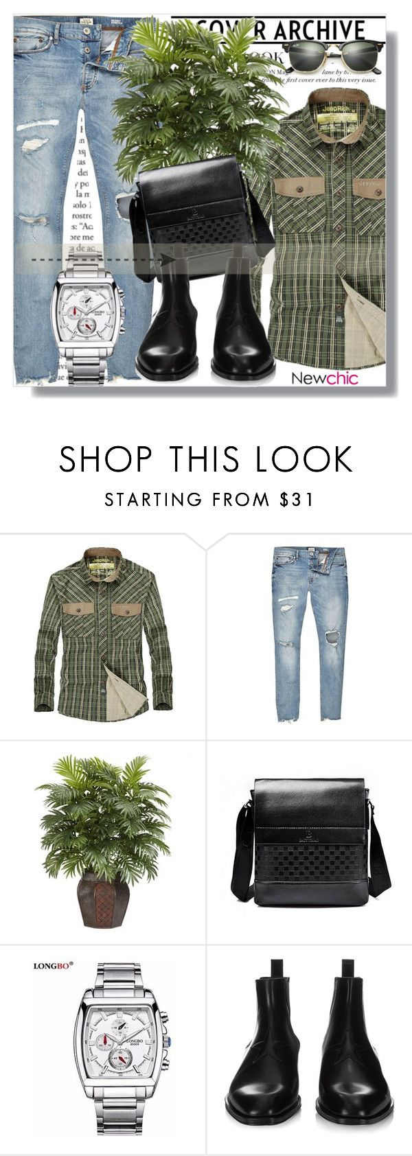 """""""NewChic !"""" by dianagrigoryan ❤ liked on Polyvore featuring River Island, Nearly Natural, Givenchy, Ray-Ban, men's fashion and menswear"""