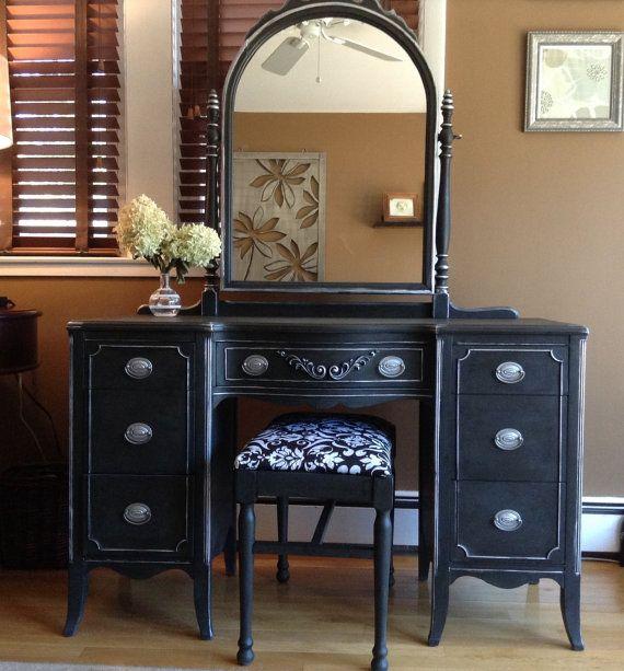 SOLD----Beautiful Silver and Black Vintage Vanity | Vintage ...