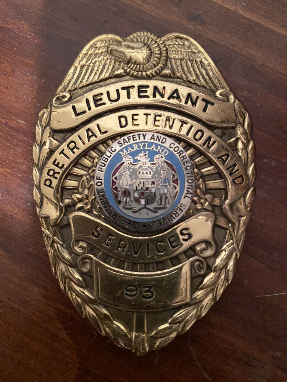 Lieutenant Pretrial Detention And Services Department Of Public Safety And Correctional Services Police Badge Texas Police Leather Fob