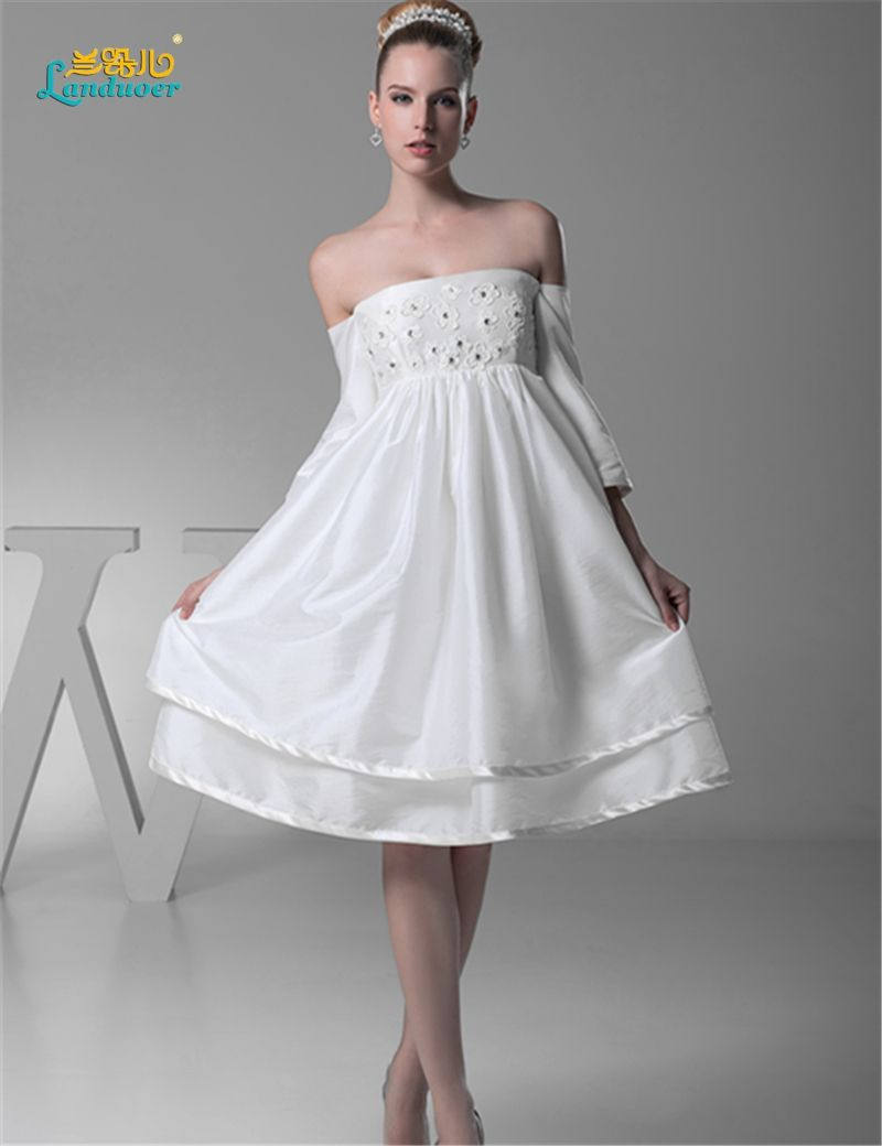 Free shipping short wedding dress new flower aline ruffle knee