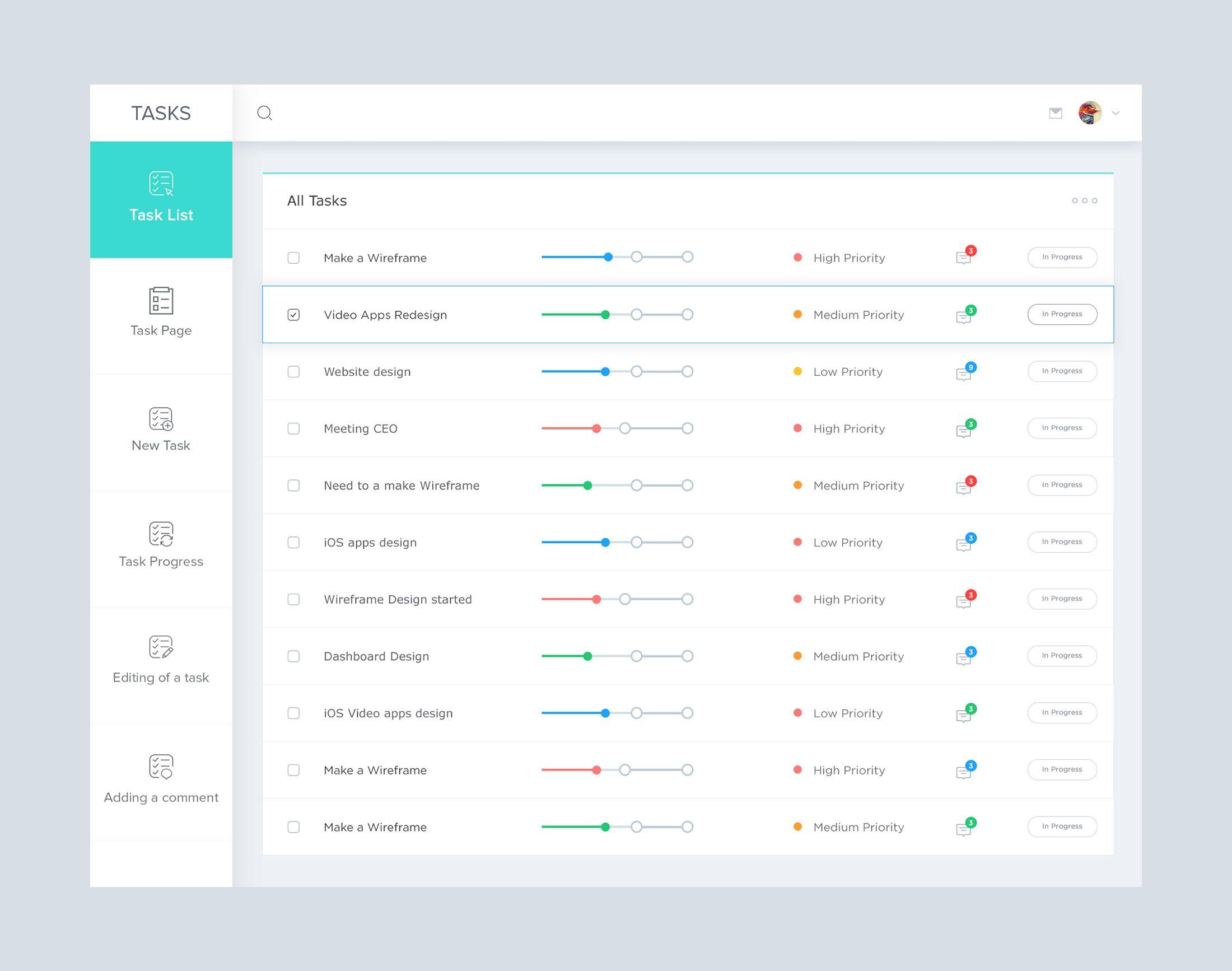 Task List Preview Jpg By Masudur Rahman Dashboard Design Web App Design Web Application Design