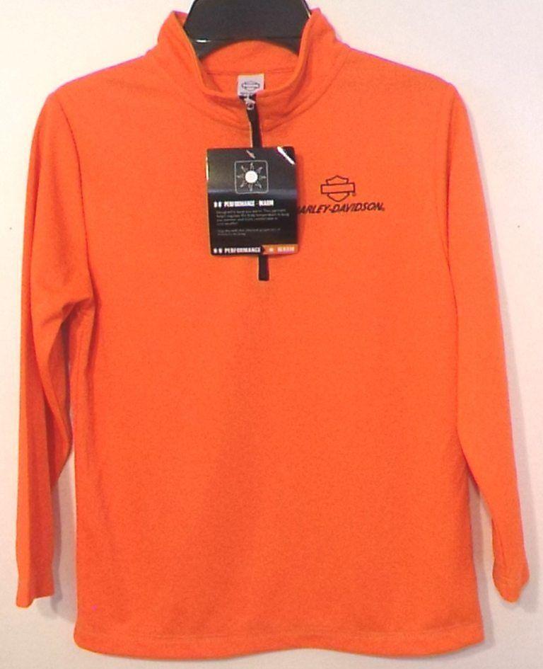 Harley Davidson Boys Shirt Performance Long Sleeve Orange Size 6 Only 1 Left New #HarleyDavidson #Everyday